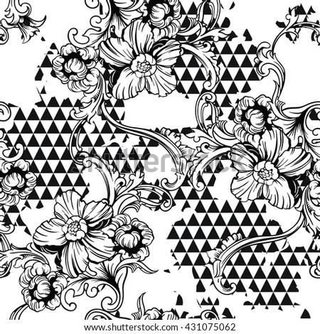 Eclectic fabric seamless pattern. Geometric background with baroque ornament. Vector illustration - stock vector