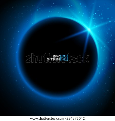 Eclipse illustration, planet in space in blue rays of light  vector background - stock vector