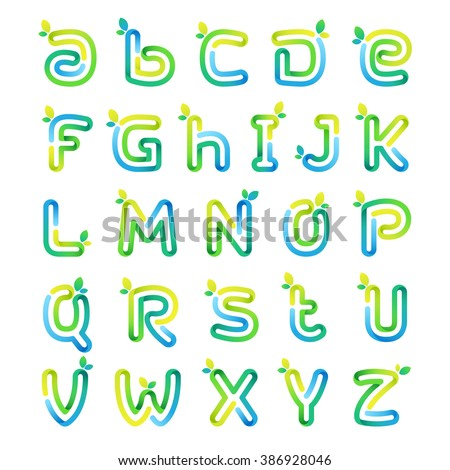 Eco alphabet letters with leaves. Font style, vector design template elements for your application or corporate identity. - stock vector