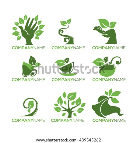 Eco and Bio Concepts Collection, Organic Food and Beauty - stock vector