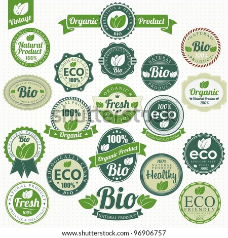 Eco And Bio Labels Collection - stock vector