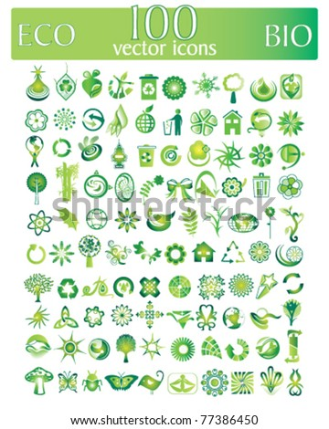 eco and bio vector set of 100 vector icons and design-elements - stock vector