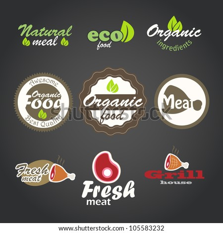 Eco and fresh food products stickers