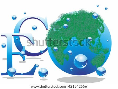 eco and the planet Earth.Vector illustration.