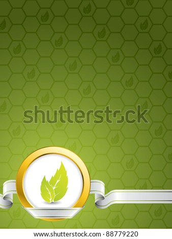 Eco background design with golden ring and green leaves - stock vector