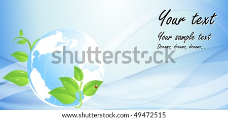 Eco background with globe - stock vector