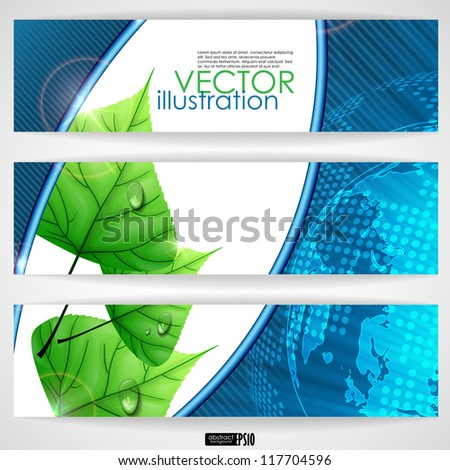 Eco background with leaves. Vector illustration. Eps 10. - stock vector