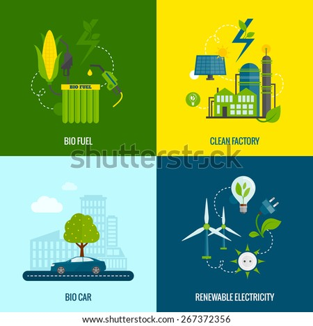 Eco bio car fuel and clean renewable electricity production 4 flat  icons composition abstract vector isolated illustration - stock vector