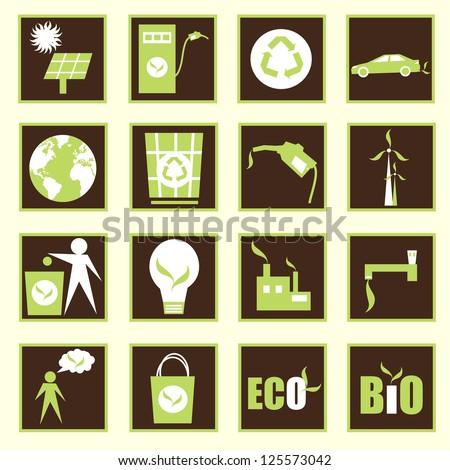 ECO BIO design,icons,vector - stock vector