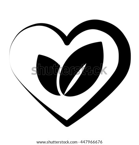 eco bio leaves in heart love black icon on white background - stock vector