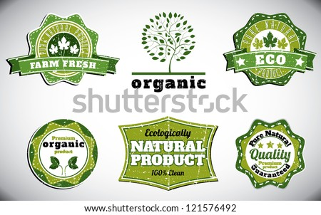 eco bio natural logos with removable grunge effect - stock vector