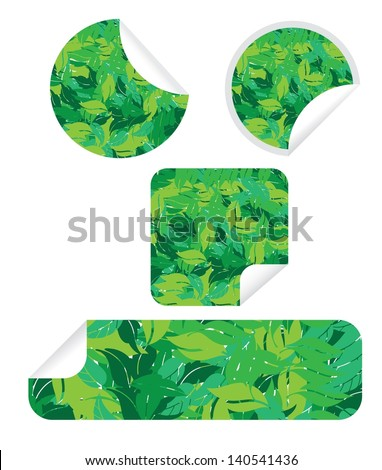 eco blank circle and rectangle stickers labels set in green leaves vector illustration - stock vector