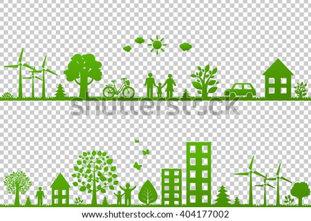 Eco Borders, Isolated on Transparent Background, With Gradient Mesh, Vector Illustration - stock vector