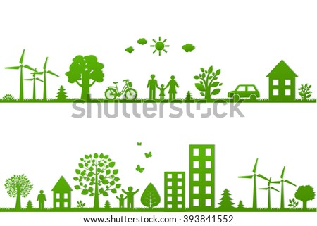 Eco Borders With Gradient Mesh, Vector Illustration - stock vector