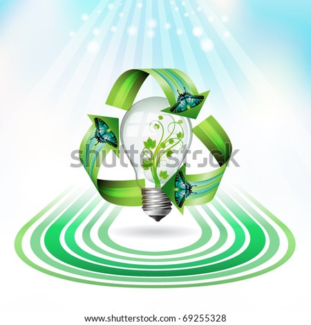 Eco bulb icon with concentric shapes, vector illustration