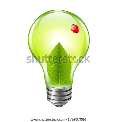 Eco Bulb With Ladybug, With Gradient Mesh, Vector Illustration