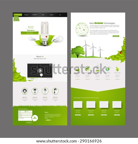 Eco Business One page website design template. Vector Design. - stock vector