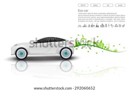ECO car concept.vector - stock vector