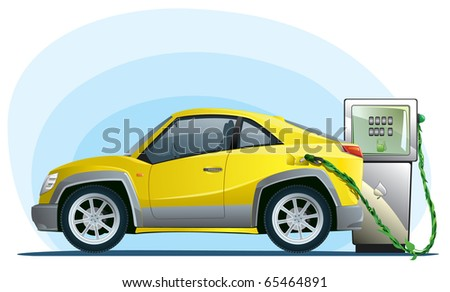 eco car on the bio fuel - stock vector