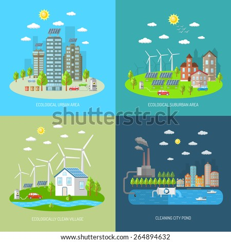 Eco city design concept set with ecologically urban suburban area clean village flat icons isolated vector illustration - stock vector
