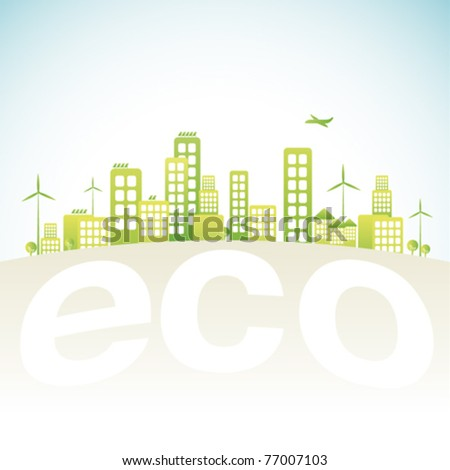 Eco city in vector illustration - stock vector
