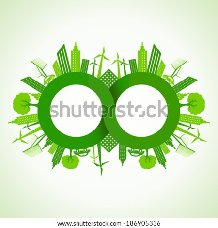 Eco cityscape around infinity symbol stock vector  - stock vector