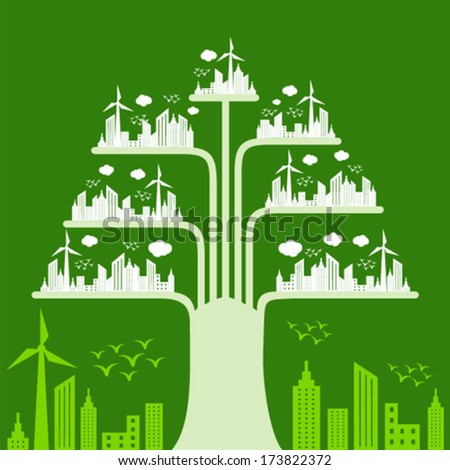 Eco cityscape make a tree stock vector