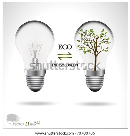 Eco concept: A light bulb with tree inside. Vector illustration. - stock vector