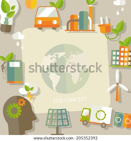 Eco concept. Globe with earth, nature, green, recycling, bicycle, car and home icon and space for text . Vector illustration  - stock vector