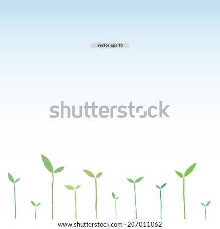 eco concept green sprout growing with new leaves showing new life & hope - stock vector