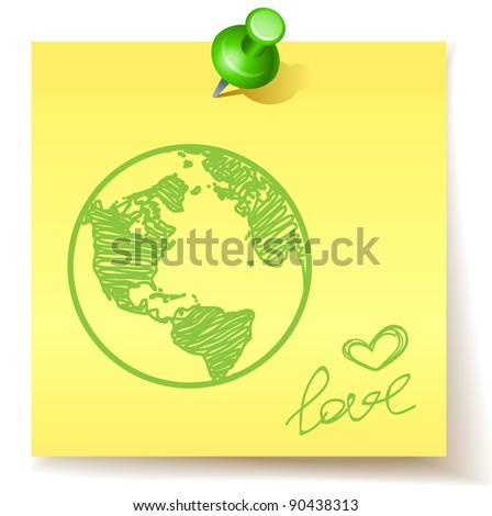 eco concept - love the green earth - stock vector