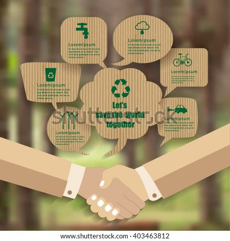 Eco design -Handshakes go to save the world - stock vector