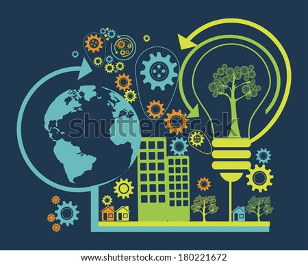 eco design over blue background vector illustration
