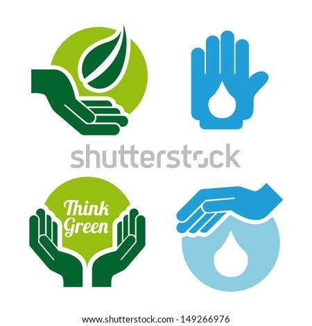 eco design over white background vector illustration  - stock vector