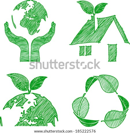 eco doodle set hand drawn vector,illustration - stock vector