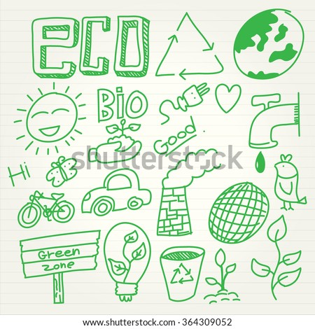 Eco doodle set in cartoon style - stock vector