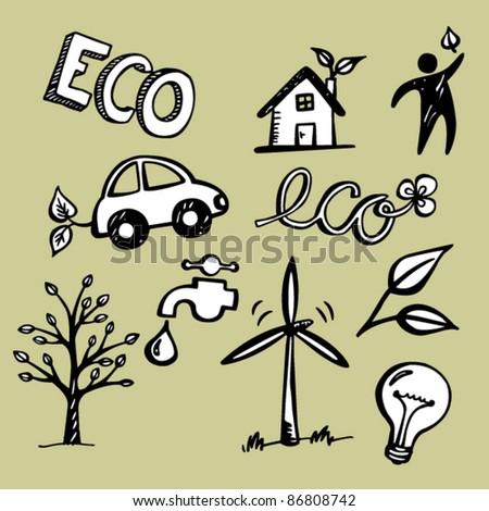 Eco Doodles - stock vector
