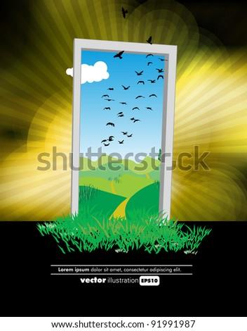 Eco door - stock vector