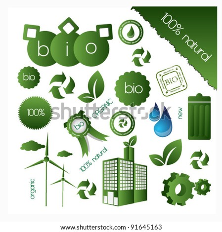 eco elements collection - stock vector