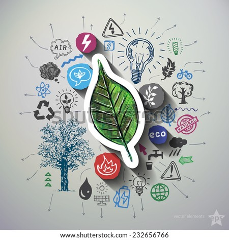 Eco energy collage with icons background. Vector illustration - stock vector