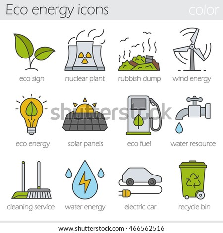 Eco energy color icons set. Electric car, nuclear plant, rubbish dump, wind power, solar panels, green energy, water resource, bio fuel, cleaning service, recycle bin. Isolated vector illustrations