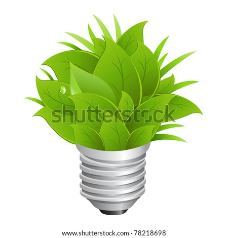 Eco Energy Concept, Ecology Bulb, Isolated On White Background, Vector Illustration - stock vector