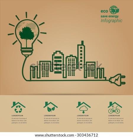 ECO energy  green city concept. - stock vector