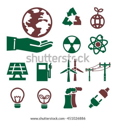 eco energy icon set - stock vector