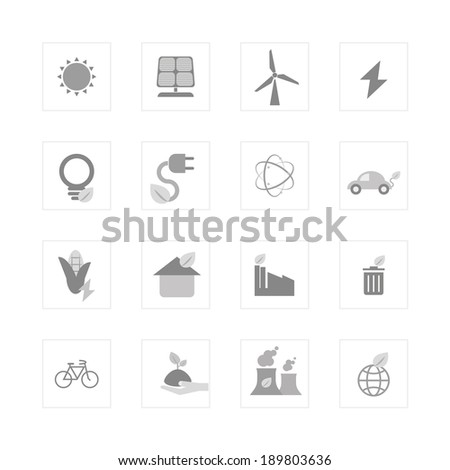 Eco energy icon set. Designed for illustration, infographics, web icon, report, presentation, template and more in your business - stock vector