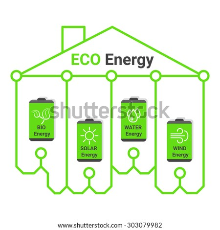 Eco energy infographics. Eco line house. Green eco batteries. Vector illustration of green eco batteries icon. Battery icon with alternative sources of energy. Alternative sources of energy.