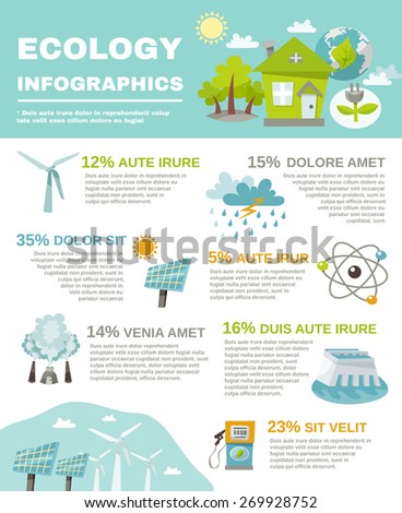 Eco energy infographics with ecology and green fuel symbols set vector illustration - stock vector