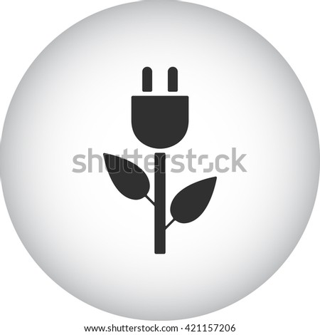 Eco energy plug sign simple icon on  background - stock vector