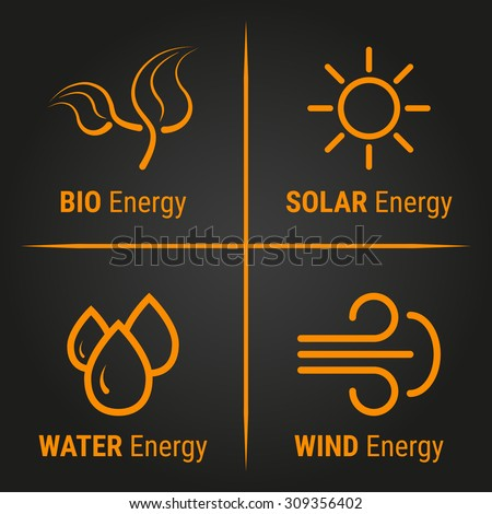 Eco energy. Vector illustration of eco energy logo icons. Icons with alternative sources of energy. Labels. - stock vector