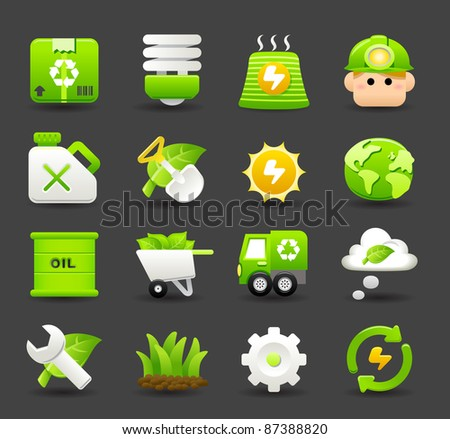 ECO,Environmental icon set  | Dark series - stock vector